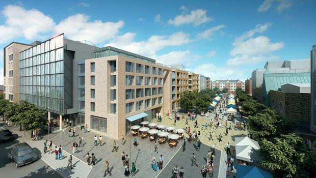 Planning application: Newmarket Square in Dublin's Liberties where the build-to-rent apartments are proposed