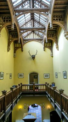 The carved oak staircase in Markree Castle's upper hall