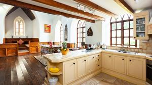 The kitchen and dining area of the converted Seahaven property