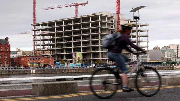 Unfinished construction work at the proposed headquarters for Anglo Irish Bank, by the River Liffey in Dublin. Photo: Bloomberg