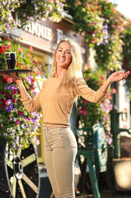 Cheers: Kaitlin McMahon, business manager of Johnnie Fox's pub, in Glencullen, ahead of the reopening. Photo: Gerry Mooney