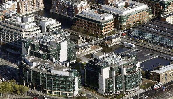 An aerial view of the IFSC in Dublin. Developers are frustrated by the Budget's failure to deal with the 'windfall tax'