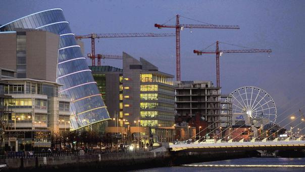 BUILDING SIGHT: Cranes tower over the unfinished Anglo HQ