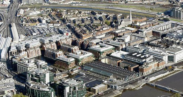Aerial view OF the Docklands IFSC, Dublin