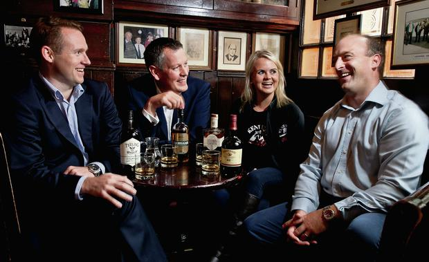 Jack Teeling of The Teeling Whiskey Company; John Cashman of Kilbeggan Distilling Company; Aisling Worth of Lexington Brewing and Distilling Company Alltech and; Seamus Lowry, Whiskey Ambassador at Irish Distillers, at the announcement of Whiskey Weeks last October. The industry has become a key player in the Liberties. Photo: Chris Bellew