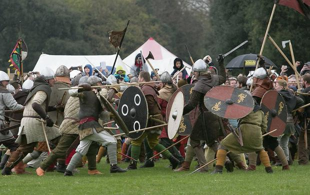Battle scenes during the Battle of Clontarf Festival 2014 hosted by Dublin City Council in St Annes Park Dublin.
