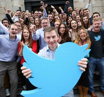 Twitter's MD in Ireland, Stephen McIntyre, with Twitter staff at the firm's HQ in Dublin.