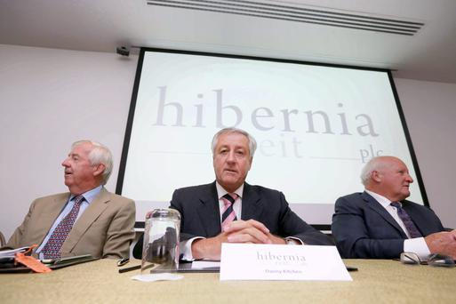 Directors of Hibernia Reit Plc (from left) Stewart Harrington, Danny Kitchen (Chairman) and Colm Barrington, pictured at the Company's AGM in the Marker Hotel in Dublin