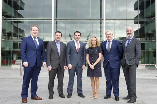 At the launch of the Commercial Real Estate Summit 2015 were (left to right) Diarmuid Mawe - Maples & Calder, Paul Muldoon - INM, Aidan Gavin - DTZ, Olivia Lynch- KPMG, Stephen McCarthy - Allsop Space, Ciaran Mooney - AIB