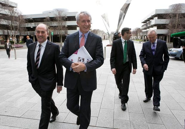 AIB's David Duffy (centre). The firm is ramping up lending for the construction sector