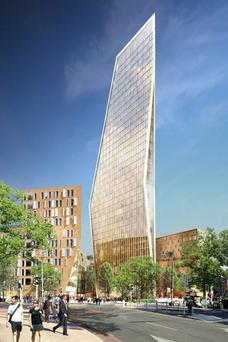 Developer Sean Dunne had wanted to build this 37 storey tower on the site of the former Jurys and Berkeley Court Hotels