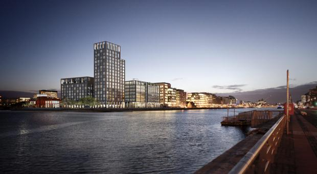 An artist's impression of the massive office/residential development planned for Dublin's docklands area