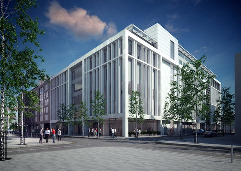 An artist's rendering shows the building destined for Sit John Rogerson's Quay