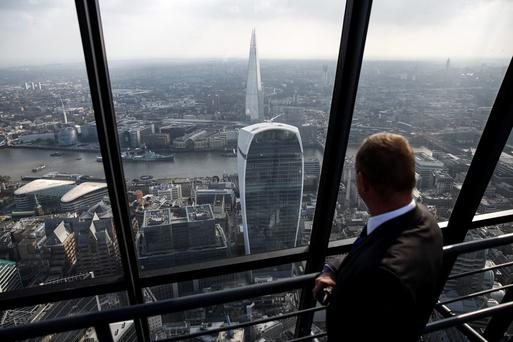 The view across London from the Leadenhall Building, better known as the Cheesegrater. Spiking office rents have prompted developers to build without signing tenants