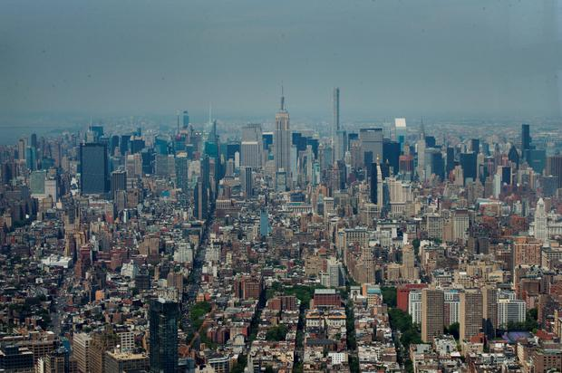 The view from the new viewing deck at One World Trade Centre, which has just opened