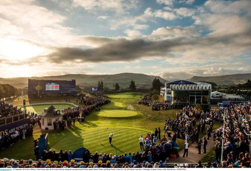Rory McIlroy tees off at the 2014 Ryder Cup in Gleneagles. Diageo are selling the five star hotel and resort