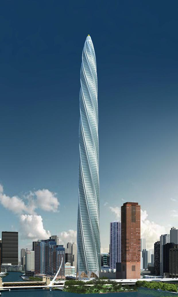 An artist's rendering of the Chicago skyscraper project