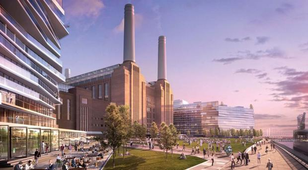 An artist's impression of a redevelopment of Battersea Power Station in London