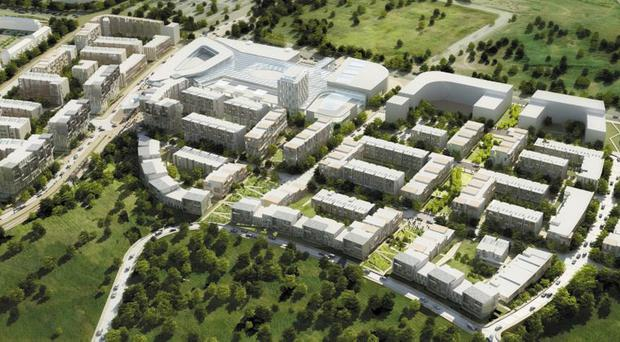 A rendering of the huge town centre style development Hines is planning for Cherrywood in south Dublin