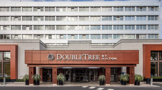 The new cladding of the front of Doubletree by Hilton, Burlington Road