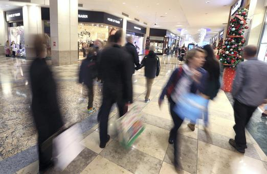 A busy Dundrum shopping centre. Photo: Damien Eagers