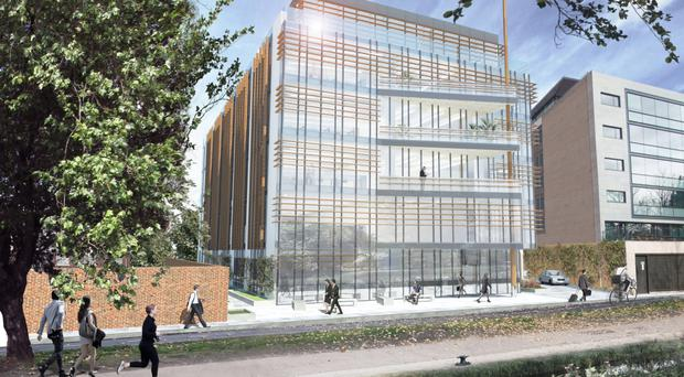 A rendering of an office block earmarked for a Knight Frank managed site at Charlemont Place in Dublin.