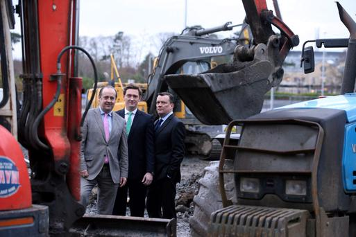 Michael McEllilgott, Tetrarch Capital's chief executive, Damien Gaffney, managing director of Tetrarch Hospitality, and Glenn Valentine, director of operations at Tetrarch Hospitality, at the Citywest Hotel yesterday, where €15m is being invested to upgrade the 774-bed property. Photo: Jason Clarke