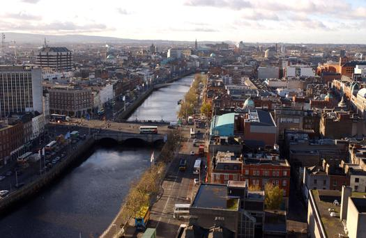 Office rents in prime areas of the capital are likely to top €65 per sq ft this year – the boom-era peak was €70 per sq ft. Photo: Bloomberg