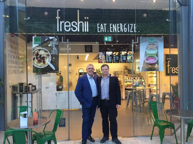 Freshii CEO Dave O'Donoghue (left) and and his business partner Cormac Manning