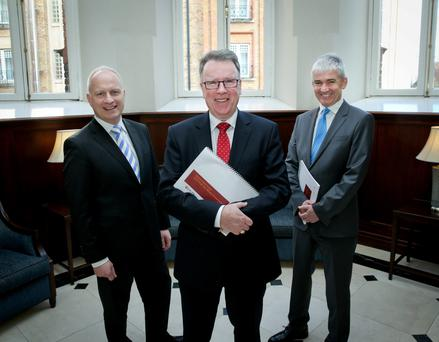 Pat McCann, chief executive of Dalata, pictured centre, with, on left, company secretary and chief financial officer Sean McKeown, and Dermot Crowley, deputy chief executive, at the announcement of the company's annual results for 2015 at the Clayton Hotel in Dublin yesterday. Photo: Tony Maxwell