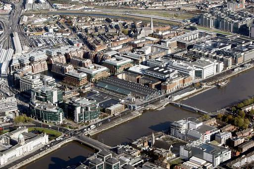 An aerial view of the IFSC in Dublin. BNP Paribas Real Estate is forecasting a sharp slowdown in rental growth this year