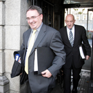 John Mulcahy, pictured on right, with his then boss, Nama chief Brendan McDonagh, outside Leinster House