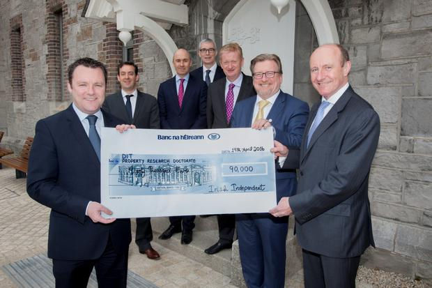 Pictured at the launch of the 2016 Property Excellence Awards Programme and the handing over of the cheque for €90,000 to fund the DIT Doctorate in Property Research were:Paul Muldoon of INM, Jim Clery of KPMG, Hibernia Reit CEO Kevin Nowlan, Martin O'Reilly of Irish Life Investment Managers, Cosgrave Group director Michael Cosgrave, DIT President Prof Brian Norton, and Tom Dunne of DIT
