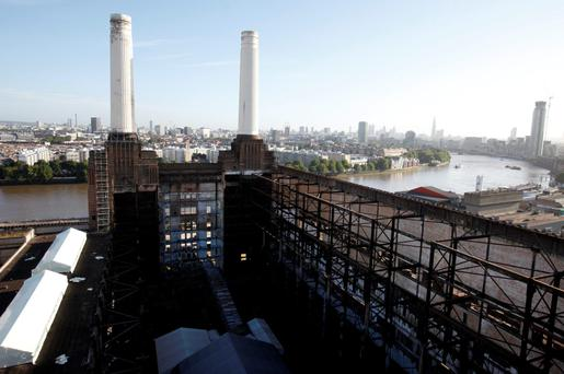Two of the four iconic smokestacks of the former Battersea Power Station