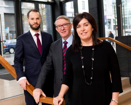 Doug Rowlands, vice president, real estate client service, MSCI; Hugh Markey, Society of Chartered Surveyors Ireland; and Aine Myler, director of operations, SCSI, at the property investment seminar yesterday