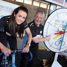 Amy Holmes and Kieran O'Higgins from WK Nowlan taking part in the 'Rollapaluza' sprint cycle challenge which raised €20,000 for Crumlin Children's Hospital.