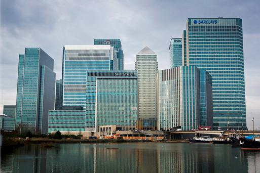 Canary Wharf in London. Several firms have threatened to leave London if the UK exits the EU but they cannot move to Dublin because of the lack of office space. Pic: Bloomberg