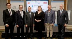 Jim Clery, KPMG; Mark Pollard, Hibernia REIT; Paul Muldoon, INM; Lorna Colley, DIT; Michael Cosgrave, Cosgrave Builders; and Martin O'Reilly, Irish Life, at a briefing event for the Irish Property Industry Excellence Awards 2017, which take place on November 23. Photo: Iain White Photography