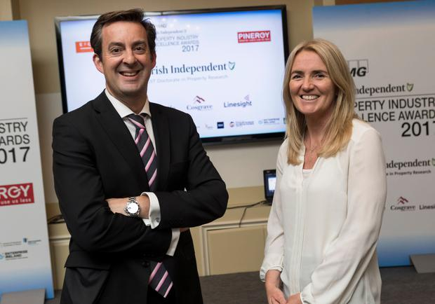 Jim Clery, KPMG, and Naomi Carroll, Linesight, at a briefing event for the Irish Property Industry Excellence Awards 2017. Photo: Iain White Photography