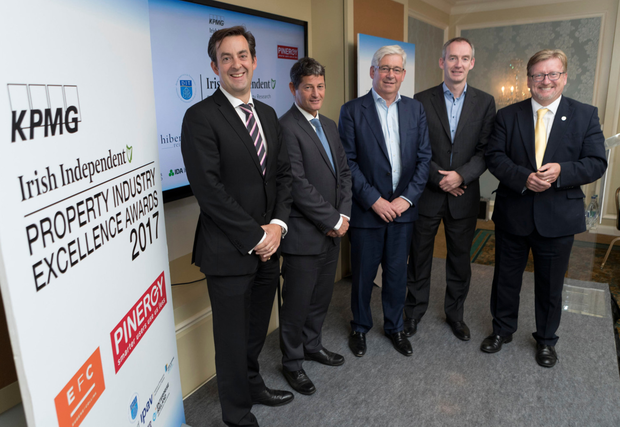 Jim Clery, KPMG; Sean Twomey, EFC; Peter Bastable, Pinergy; Enda Gunnell, Pinergy; and Professor Brian Norton, DIT, at a briefing event for the Irish Property Industry Excellence Awards 2017. Photo: Iain White Photography