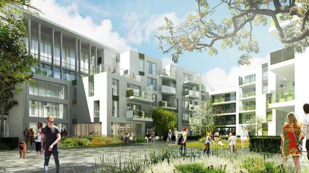 An artist's impression of the apartments at the proposed town centre at Cherrywood, which is being developed by Hines Ireland