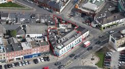 An aerial view of Kiely's of Donnybrook (outlined in red)