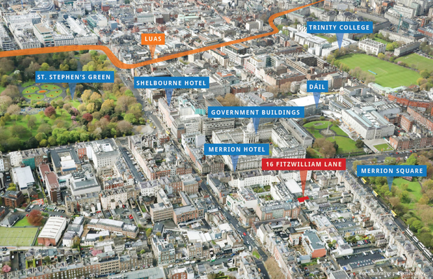 An aerial view of the site at No 16 Fitzwilliam Lane in Dublin 2