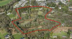 An aerial view of the 13.9 acres of development land at Stylebawn House in Delgany, Co Wicklow
