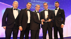 Overall Winners SISK's Brian Dillon and Mark McGreevey with Damien English, Minister of State, Housing and Urban Development, Donal McCarthy, MD Ireland East, SISK, and Irish International rugby star Rob Kearney at the 2018 KPMG Irish Independent Property Industry Excellence Awards, held in the Convention Centre, Dublin.