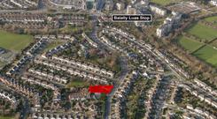 An aerial view of the ready-to-go Sandyford Road site in Dundrum