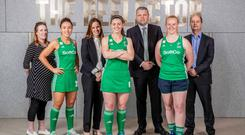 Sponsor: Anna O'Flanagan, Roisin Upton and Ayeisha McFerran of the Ireland women's hockey team with Jilly and Emma Cotter of Park Developments, managing director of Park Developments Sean O'Neill and chief executive officer of Hockey Ireland Jerome Pels. Photo: inpho/ morgan treacy