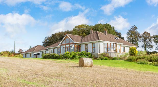 Complete package: A front view of 'The Bawn' located near Killucan in Co Westmeath. The house extends to 3,530 sq ft and the land includes 10ac of mature forestry. There is also an option to buy an additional 30ac of grazing ground across the road