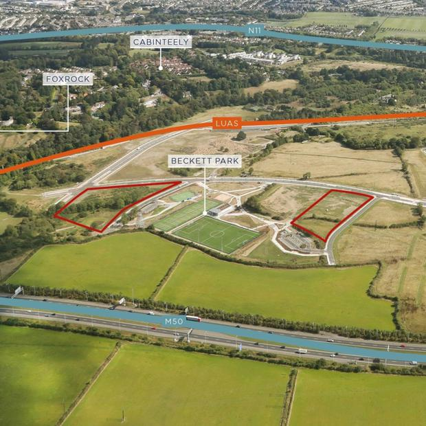 The two sites are adjacent to Beckett Park in south Dublin
