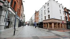 Deserted: An empty Grafton Street during the first Covid lockdown. Photo: Steve Humphreys